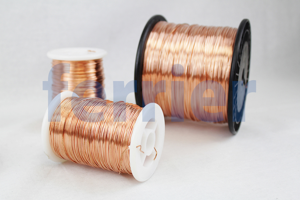 Ferrier copper wire on spools